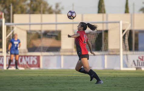 Sophomore midfielder Yasmin Ahooja sets up for a first touch during SDSU's loss to USD.