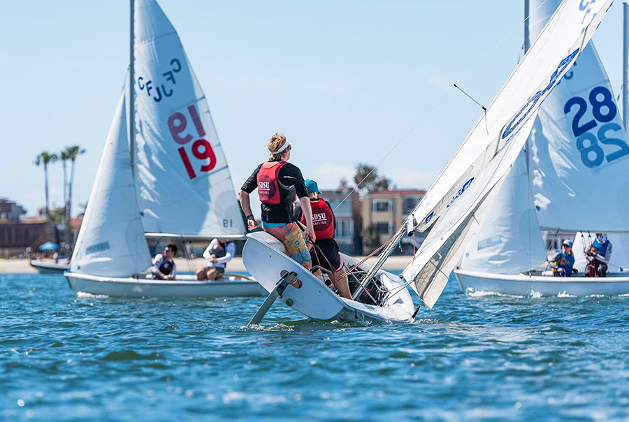 Newt Cutcliffe completes a roll tacking maneuver in windy sailing conditions at the South Designate last March.