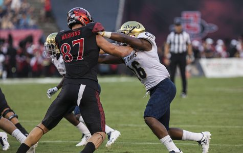 Sophomore tight end Kahale Warring blocks a UC Davis player during SDSU's 38-17 win.