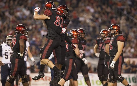 Sophomore tight end Kahale Warring celebrates his touchdown during SDSU's opening game win over UC Davis.