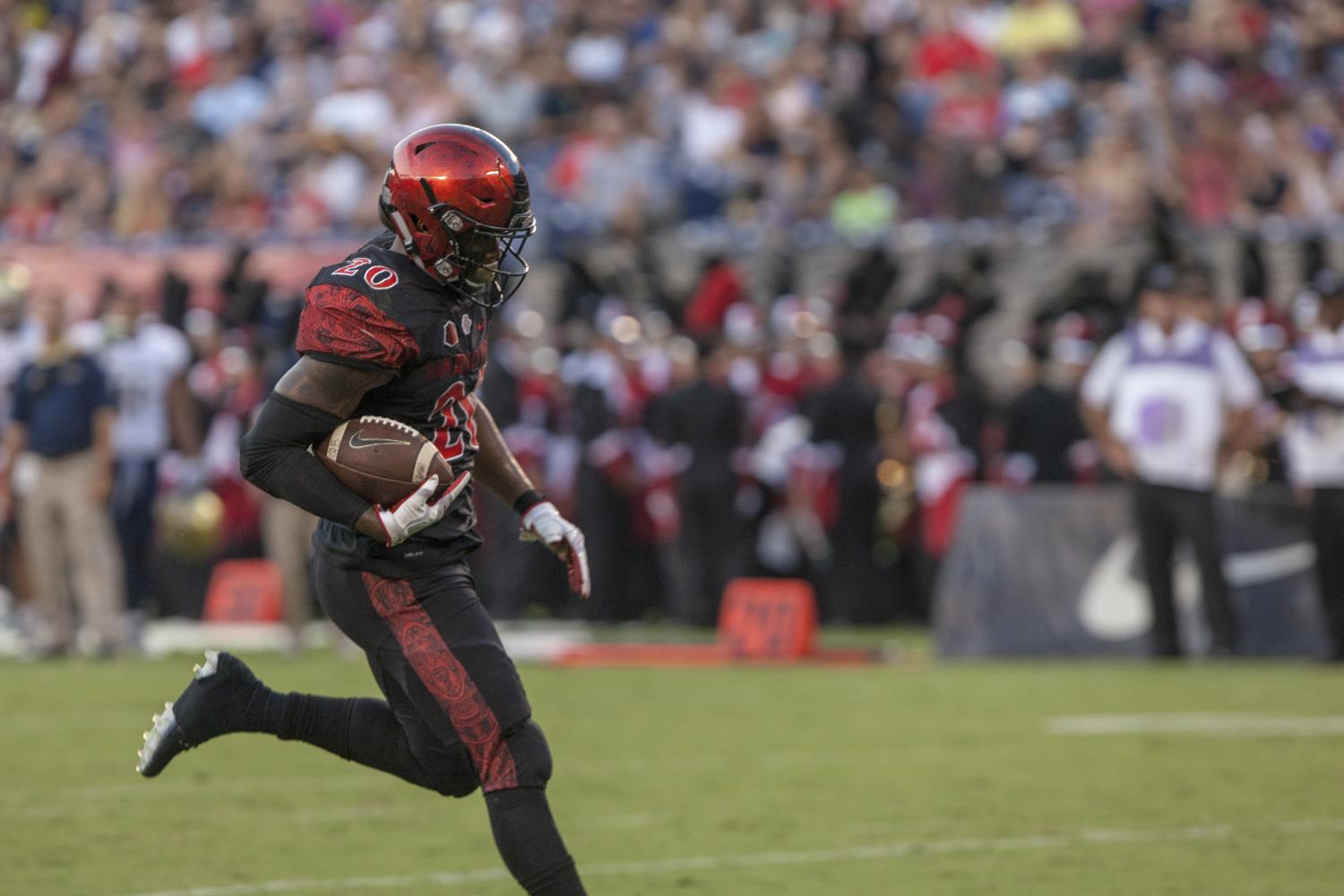 Senior running back Rashaad Penny prances for a touchdown during SDSU's 38-17 win over UC Davis.
