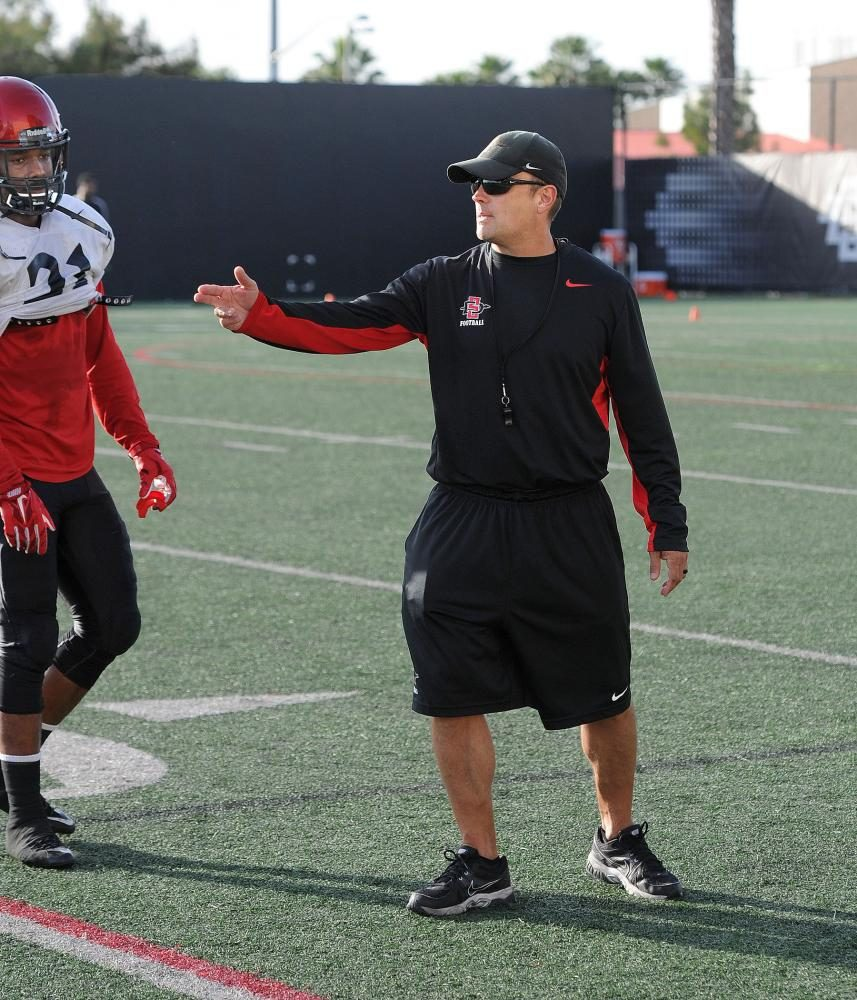 Defensive coordinator Danny Gonzales coaches during a fall 2017 practice.