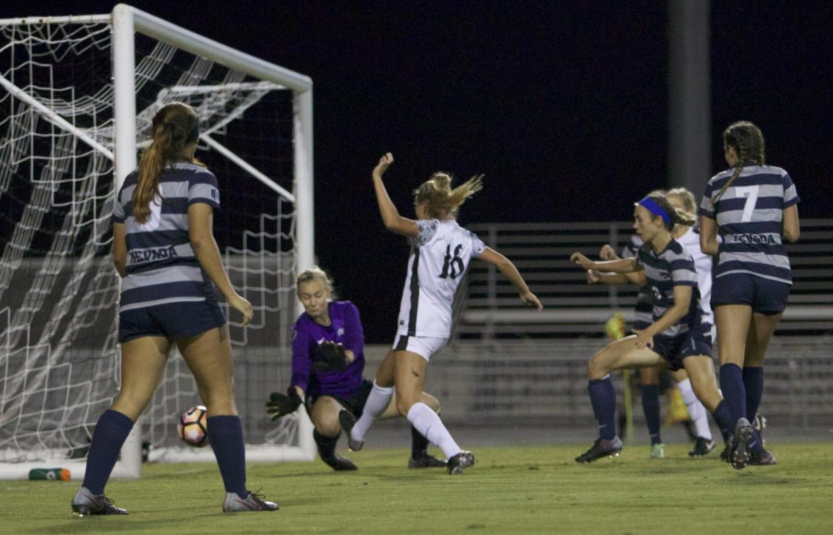 Sophomore forward Darcy Weiser pokes in a goal in the 82nd minute during SDSUs 3-0 win over Nevada Friday night.