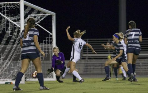 Sophomore forward Darcy Weiser pokes in a goal in the 82nd minute during SDSU's 3-0 win over Nevada Friday night.