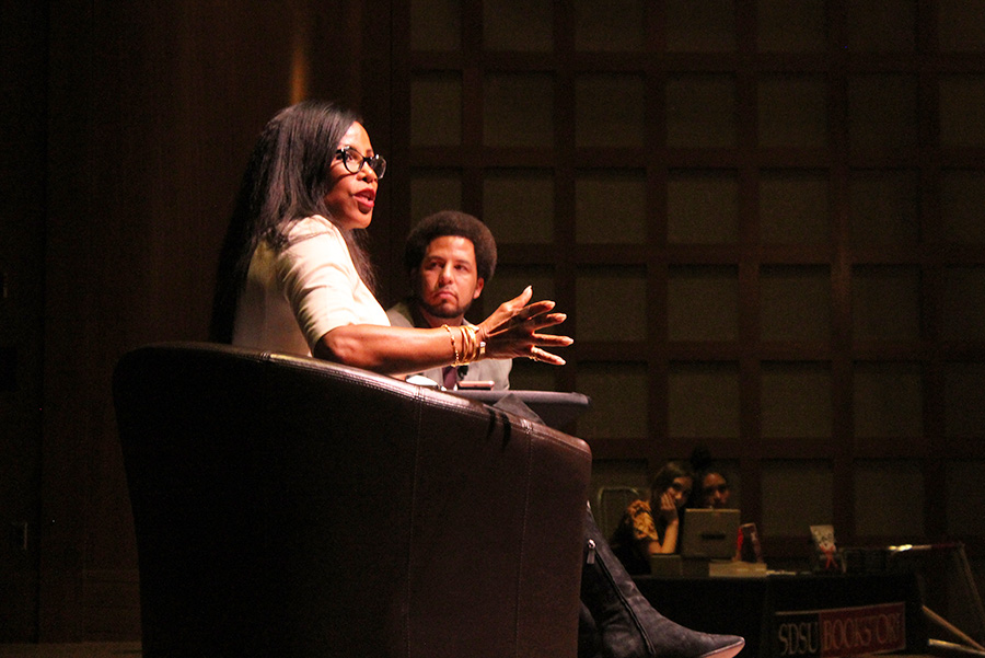 Ilyasah Shabazz, daughter of Malcolm X, addresses students at student union theater.