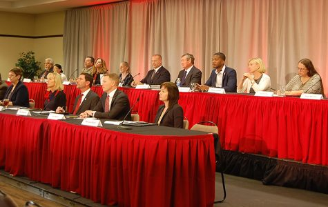 SDSU's Presidential Selection Committee convenes in the Parma Payne Goodall Alumni Center Sept. 25