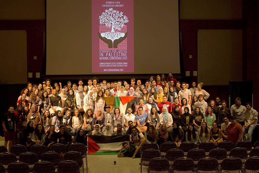 Members of SDSU Students for Justice in Palestine at a national conference in 2015. Courtesy of Students for Justice in Palestine.