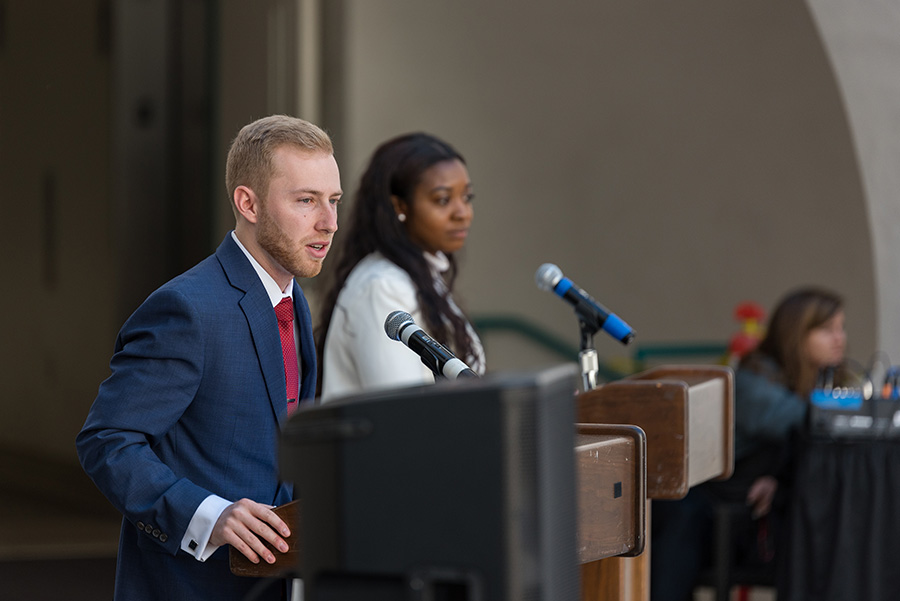 A.S. vice president of financial affairs Hayden Willis debates Krystal Nzeadibe for his position during the spring 2017 A.S. elections.