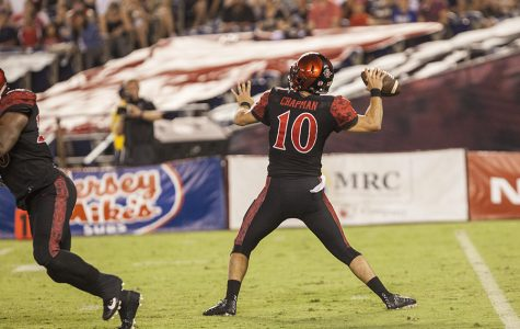 Redshirt junior quarterback Christian Chapman throws a pass during SDSU's 38-17 win over UC Davis.