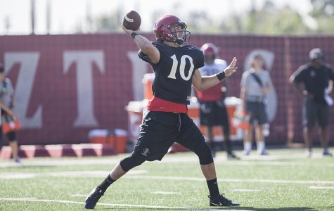 SDSU redshirt junior quarterback Christian Chapman throws a pass during a fall practice.