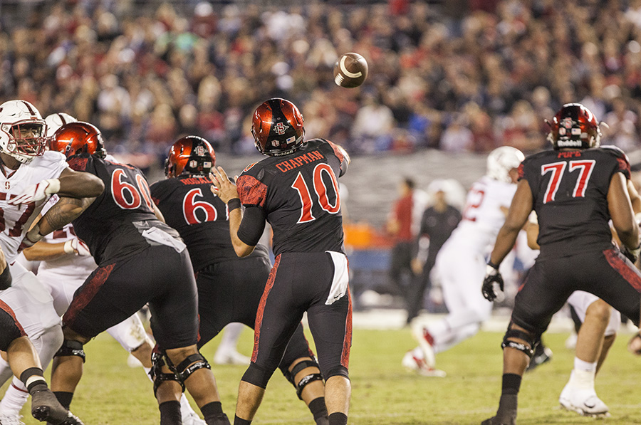 Redshirt junior quarterback Christian Chapman throws a pass during SDSU's 20-17 win over Stanford.
