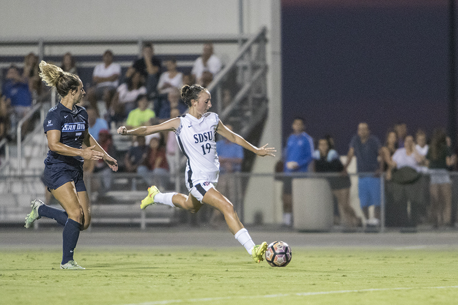 Freshman forward Mia Root sets up for a shot on goal during SDSU's loss to University of San Diego.
