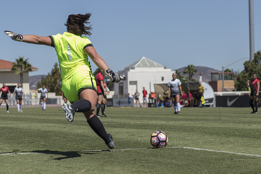 Redshirt sophomore goalkeeper Gabby English readies for a goal kick during SDSUs 1-0 loss to UNLV on Sunday, Sept. 24.