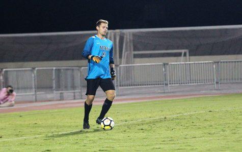 Redshirt senior goalie Adam Allmaras sets up for a goal kick in SDSUs loss to USF.