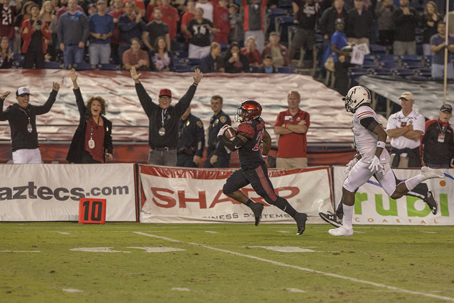 Then-sophomore running back Juwan Washington returns the opening kickoff 96 yards for a touchdown during SDSU's 34-28 win over NIU.