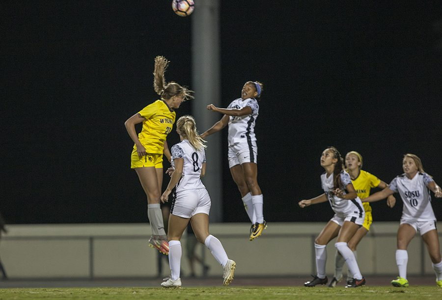 Senior+forward+Angela+Mitchell+launches+for+a+header+during+SDSU%27s+2-1+win+over+Wyoming+on+Oct.+20.