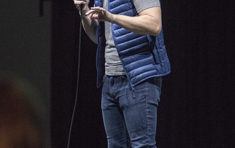 Stand-up comedian Drew Lynch performs his infectuous routine in Montezuma Hall as part of DiversAbility Month at SDSU.