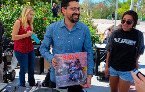Rubalcaba remixed some of his music with KCR at a Thursday SDSU farmer's market.