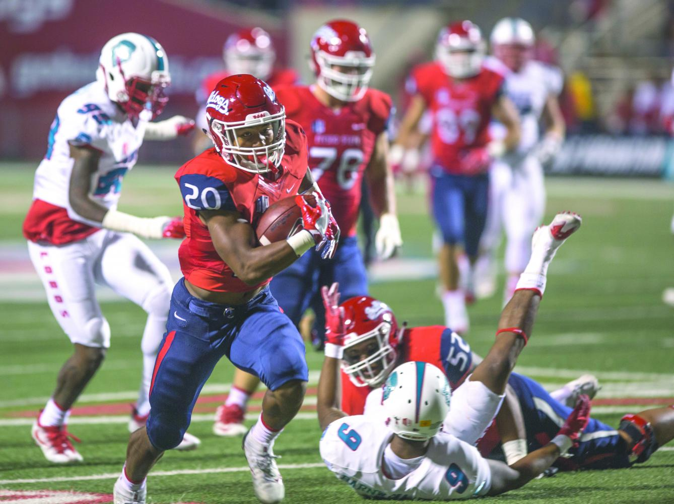 Freshman running back Ronnie Rivers separates from the defense during Fresno State's 38-0 win over New Mexico on Oct. 14. SDSU faces Fresno on Oct. 21 at SDCCU Stadium.