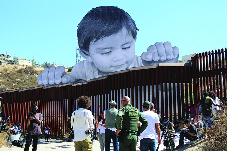 Baby Kikito looks over the border toward the U.S. from Tecate, Mexico, 40 miles east of San Diego.