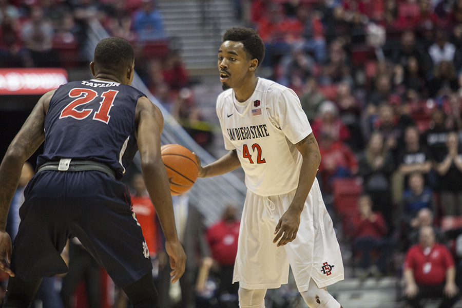 Junior guard Jeremy Hemsley prepares to drive to the basket during a game in the 2016-17 season.