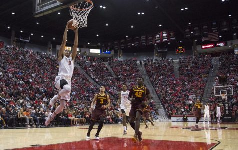 Senior guard Trey Kell breaks away for a dunk during SDSU's loss to Arizona State in Dec. 16.