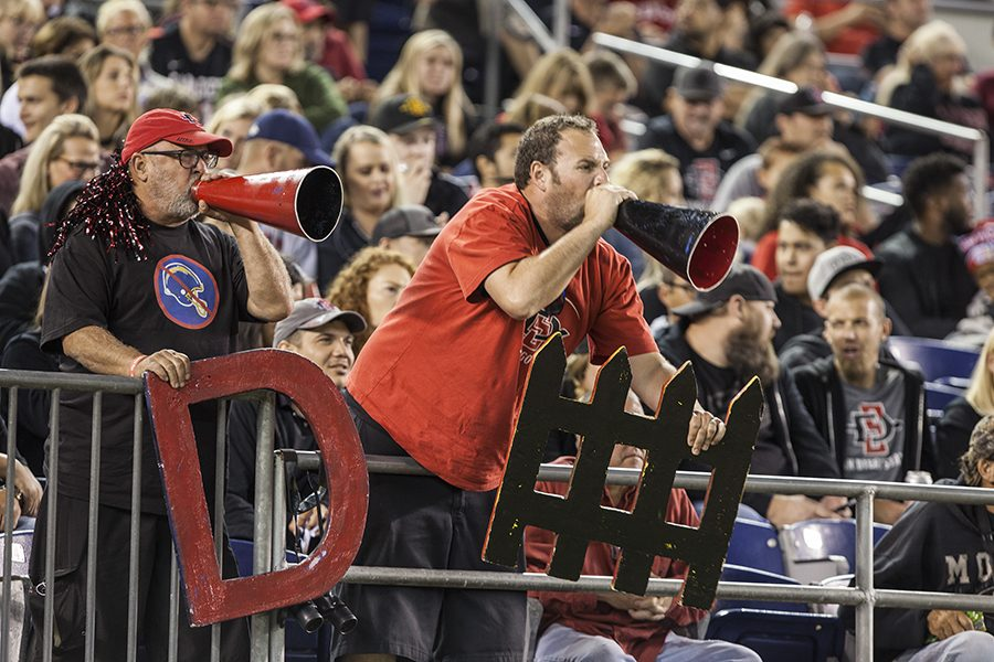 Two lively SDSU fans hold up signs and yell through their megaphones during SDSU's 34-28 win over Northern Illinois on Sept. 30.