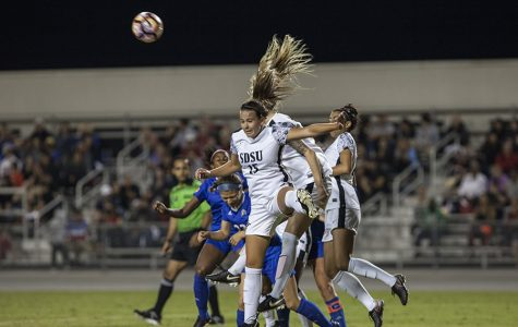 Senior forward Dani Derosa heads the ball away from the goal during SDSU's 0-0 double overtime draw with San Jose State on Friday, Oct. 6.