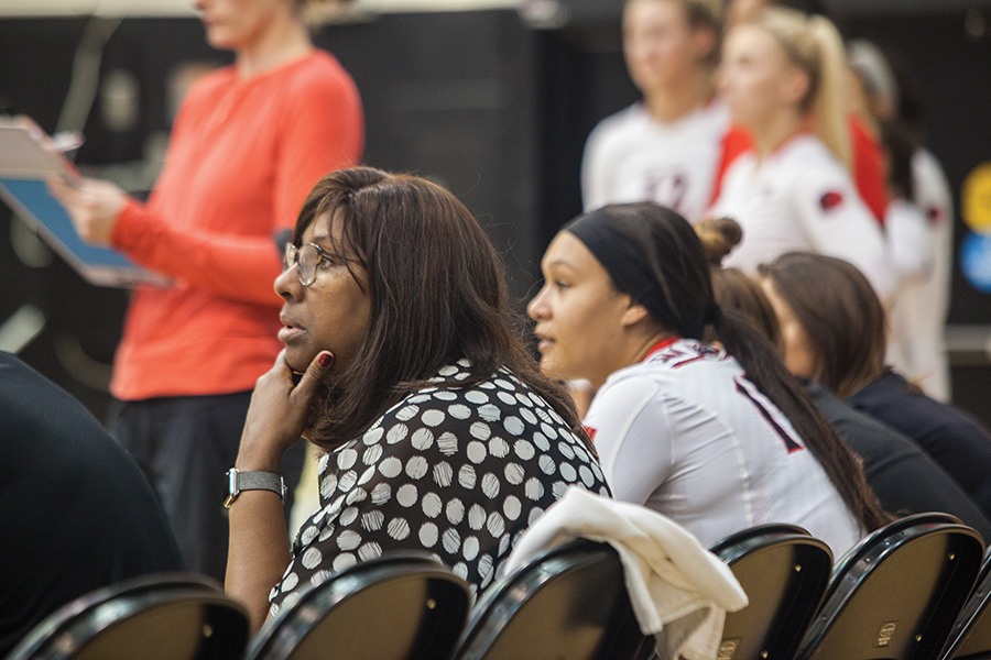 Deitre Collins-Parker ponders during SDSU's win over Air Force on Oct. 8, 2017 for her 300th win at SDSU.