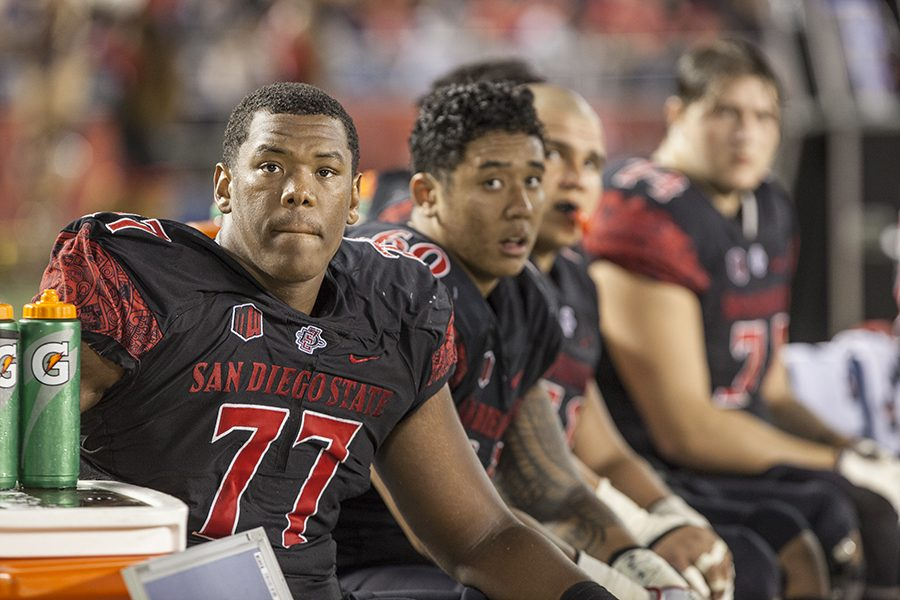 Junior+offensive+lineman+Ryan+Pope+%2877%29+and+redshirt+freshman+Keith+Ismael+%2860%29+look+on+from+the+bench+during+the+Aztecs+27-3+loss+to+Fresno+State.