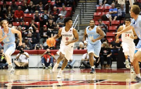 Junior guard Devin Watson (0) drives the ball up the court during the Aztecs 91-52 victory over San Diego Christian on Nov. 10 at Viejas Arena.