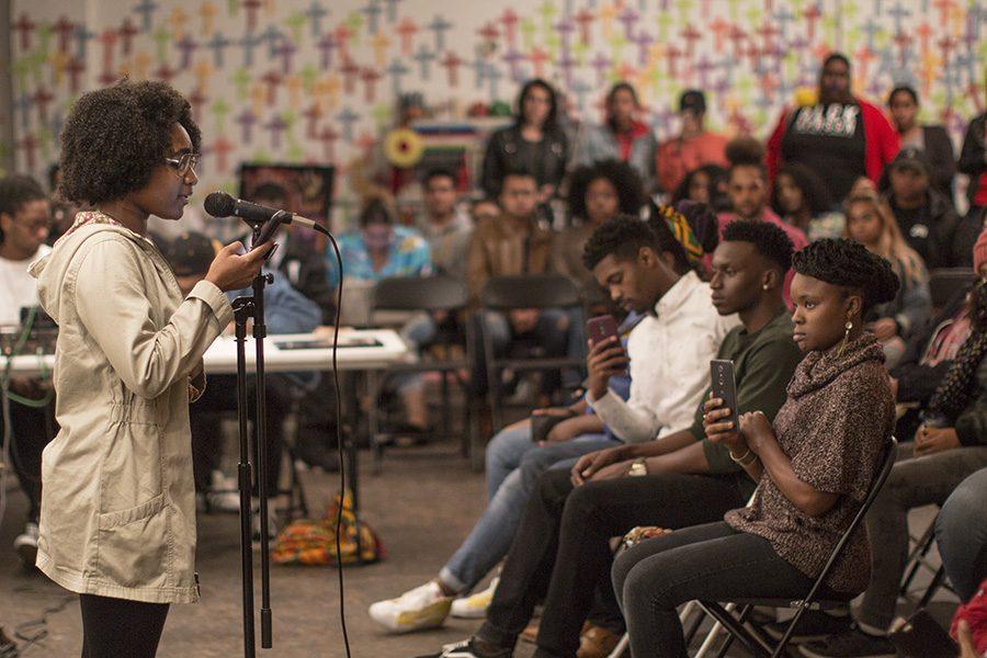 Psychology freshman Raqui Carson performed