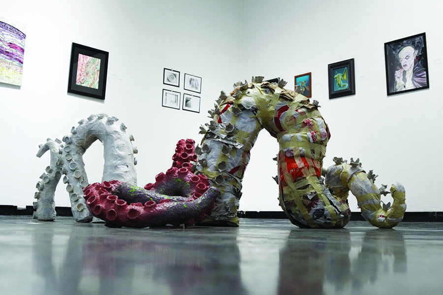 This piece by Shayne Oseguera, titled Octopusish, is one of the many art pieces on display at the exhibit