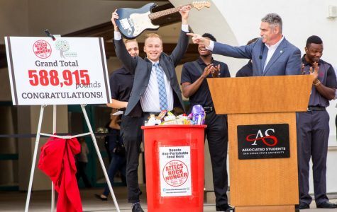 Associated Students Vice President of Financial Affairs Hayden Willis unveiled the 2017 Aztecs Rock Hunger grand total.