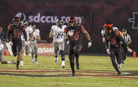 Rashaad Penny returns a first quarter punt 70-yards for a touchdown, during the Aztecs 42-23 victory over Nevada on Nov. 18 at SDCCU Stadium.