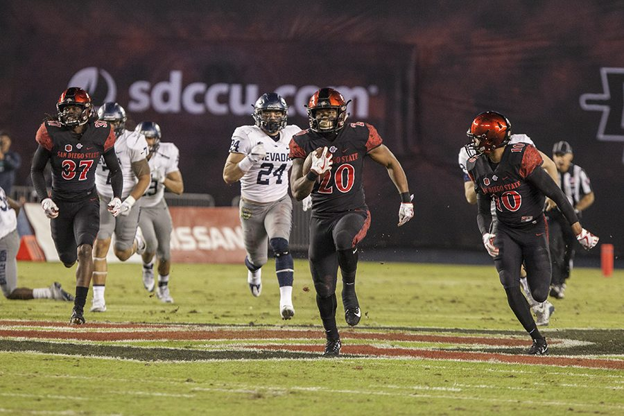 Rashaad+Penny+returns+a+first+quarter+punt+70-yards+for+a+touchdown%2C+during+the+Aztecs+42-23+victory+over+Nevada+on+Nov.+18+at+SDCCU+Stadium.
