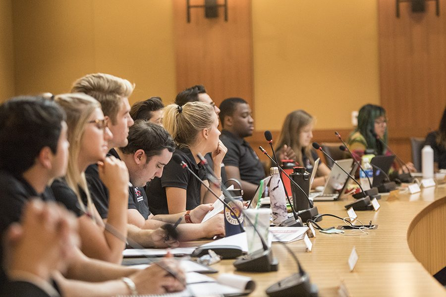 Members of the A.S. University Council at a September meeting.