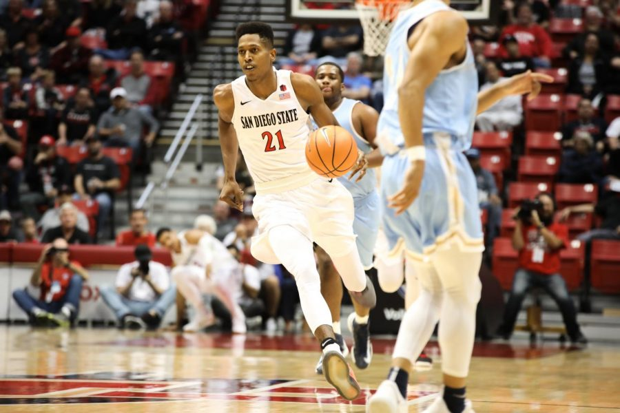 Senior forward Malik Pope handles the ball during the Aztecs 91-52 victory over San Diego Christian College on Nov. 10 at Viejas Arena.
