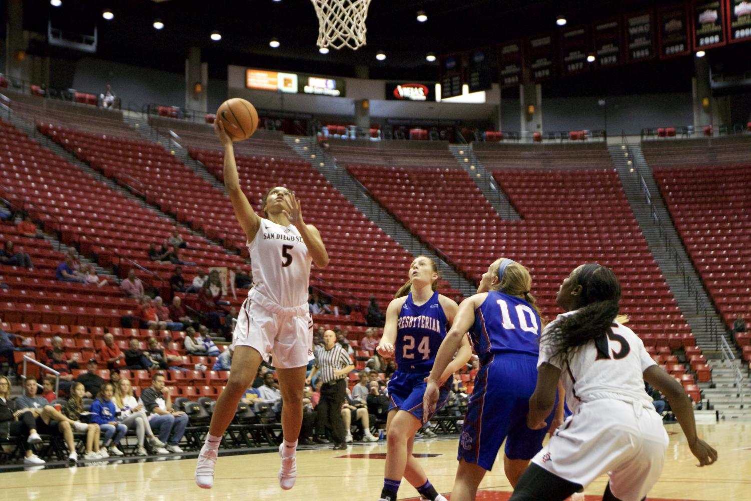 Freshman guard Te'a Adams goes for a layup during SDSU's opening-game win over Presbyterian on Nov. 10.