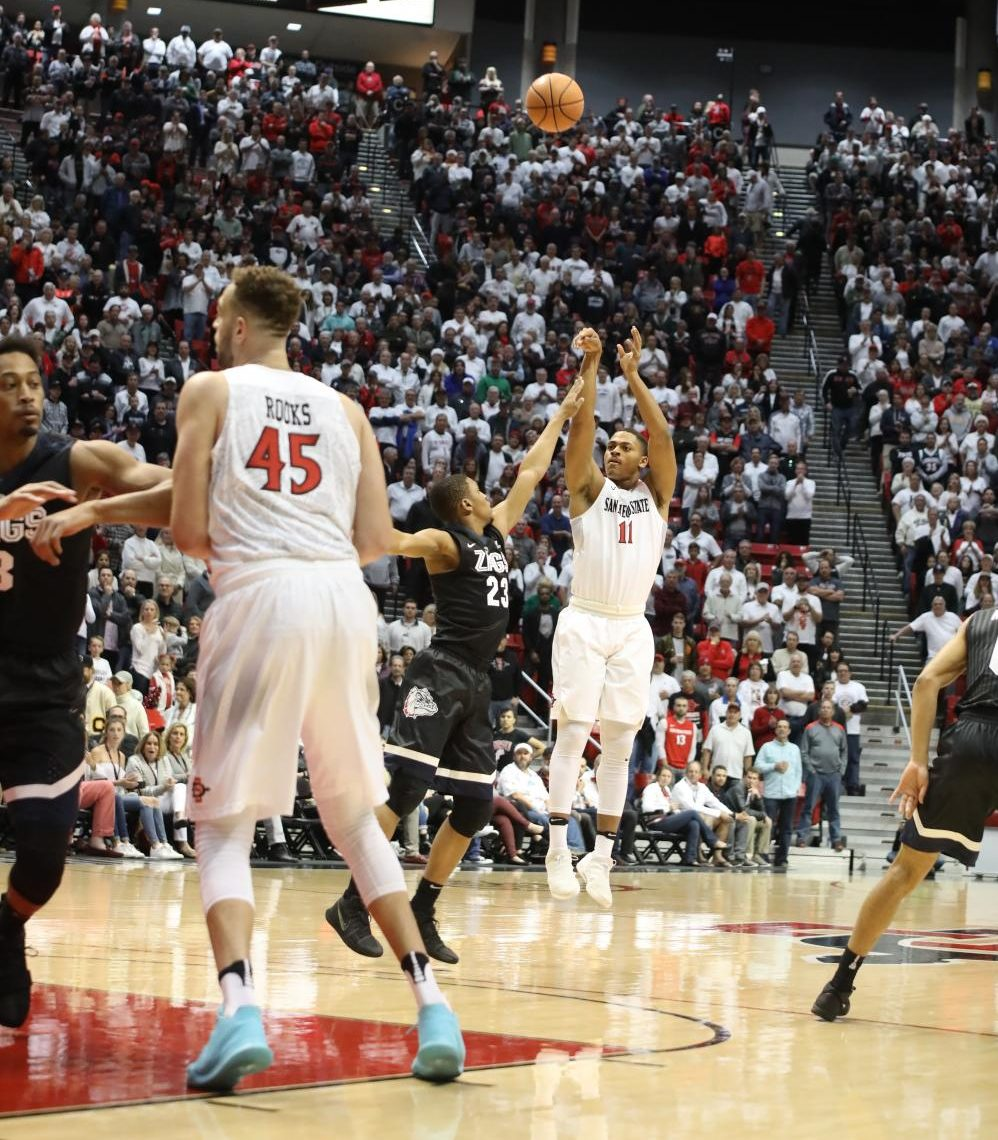 Freshman forward Matt Mitchell pulls up for three of his game-high eight points during SDSU's 33-32 win over Gonzaga.