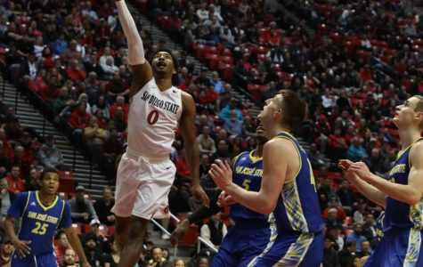 Then-junior guard Devin Watson goes up for a layup during the Aztecs' 85-49 victory over San Jose State University on Jan. 9 at Viejas Arena.