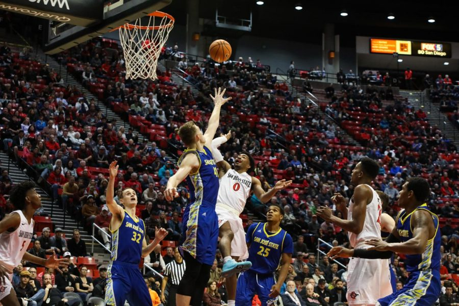 Devin Watson goes up for a shot during the Aztecs 85-49 victory over San Jose State on Jan. 9 at Viejas Arena.