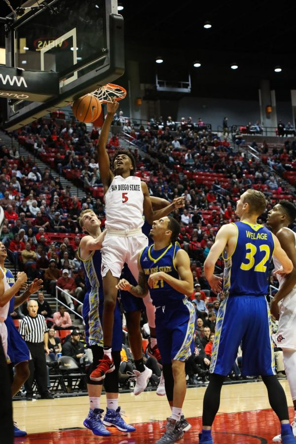 Redshirt+freshman+forward+Jalen+McDaniels+rises+for+a+dunk+during+SDSU%E2%80%99s+win+over+San+Jose+State+on+Jan.+9.