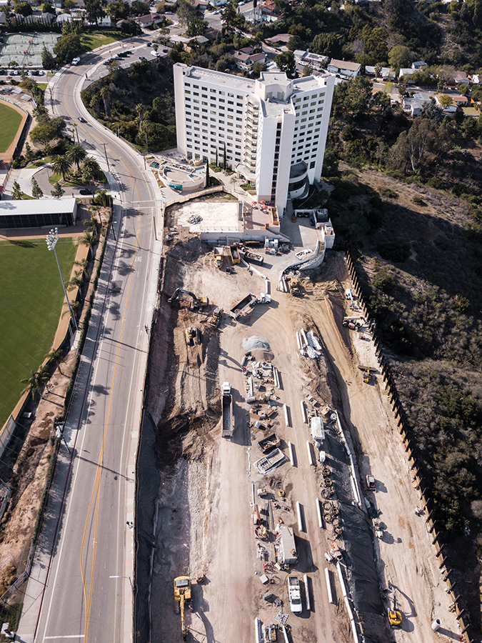 An aerial view of the new residence hall under construction near Chapultepec.