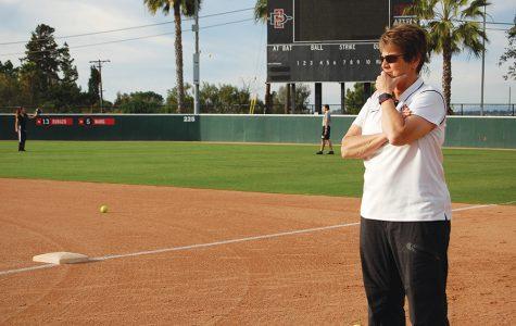 SDSU softball coach Kathy Van Wyk looks on during practice on Jan. 30.