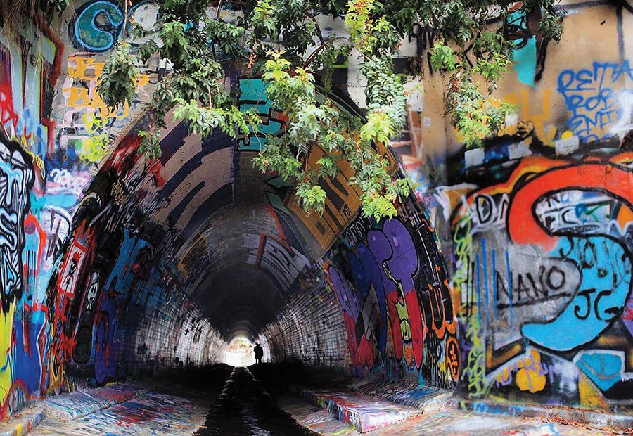 Nearly across the street from San Diego State, Adobe Falls is covered in graffiti and is gated for trespassers.