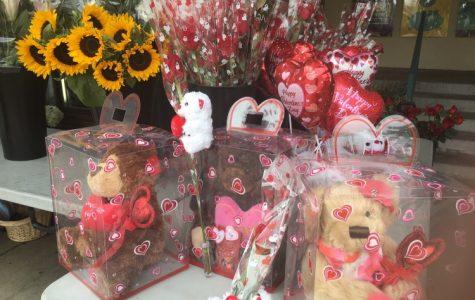 SDSU Flowers displays Valentine's Day products.