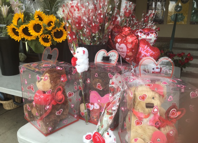 SDSU Flowers displays Valentine's Day products.