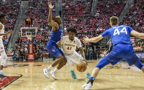 Jeremy Hemsley drives to the basket during the Aztecs 81-50 victory over Air Force at Viejas Arena on Feb. 3.