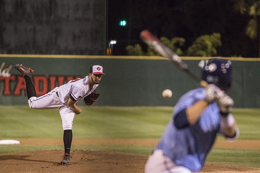 Daniel Ritcheson throws a pitch during the Aztecs 3-2 loss to USD on Feb. 20 at Tony Gwynn Stadium.
